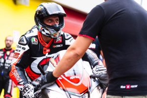 Loris Capirossi and Max Biaggi Ride At An Aprilia Track Day